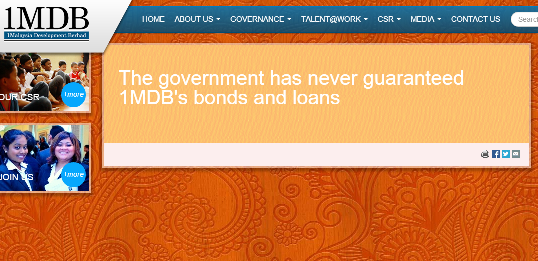 The government has never guaranteed 1MDB s bonds and loans 1MDB