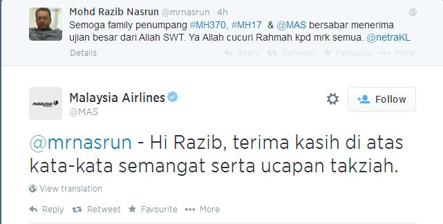 Twitter   MAS   mrnasrun   Hi Razib  terima ...
