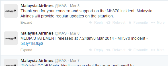 Twitter   Search   from MAS first tweet MH370