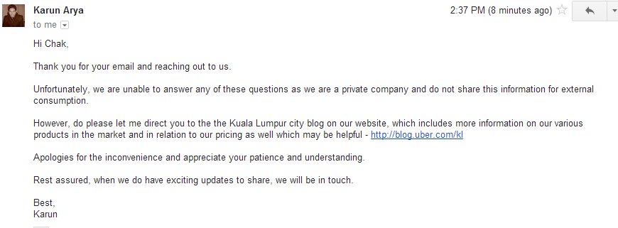 Some questions about Uber Malaysia   chak cilisos.my   Cilisos Sdn. Bhd. Mail