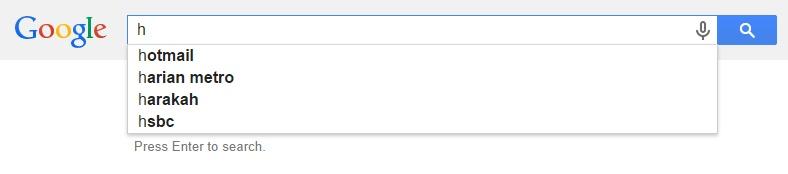 Google Malaysia Suggest - H