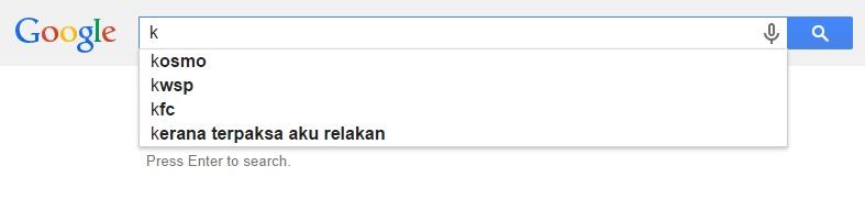 Google Malaysia Suggest - K