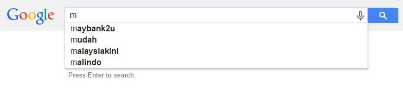 Google Malaysia Suggest - M