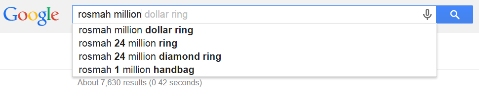 rosmah million dollar ring   Google Search