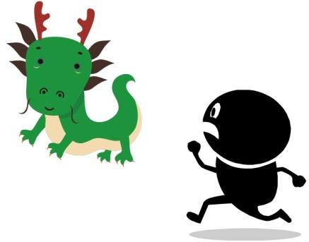 Chasing the dragon cute clip art