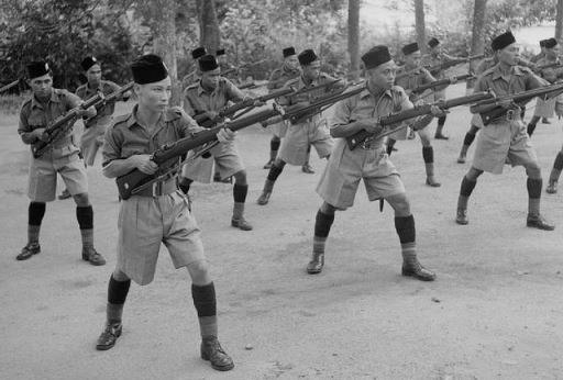 Malay Regiment at bayonet practice. Image from Wikipedia.