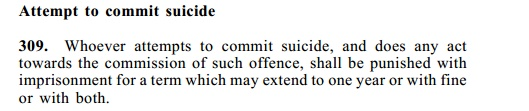 Suicide punishment in Penal Code Section 309