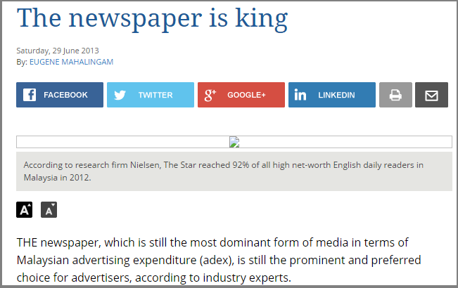 The newspaper is king   Business News   The Star Online