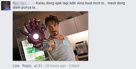 Ironman comment from Ainaa's Facebook.