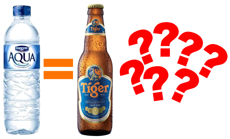 Mineral water and beer question marks.