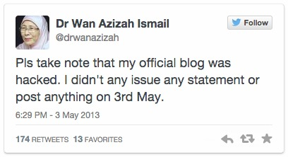 Wan Azizah blog hacked  admission to sex video fake   Astro Awani