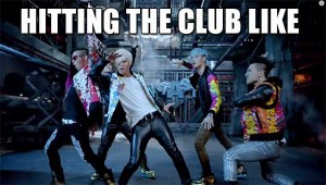 hitting the club like