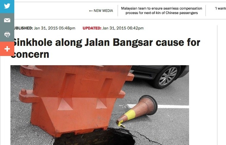 Sinkhole along Jalan Bangsar cause for concern   The Rakyat Post   The Rakyat Post