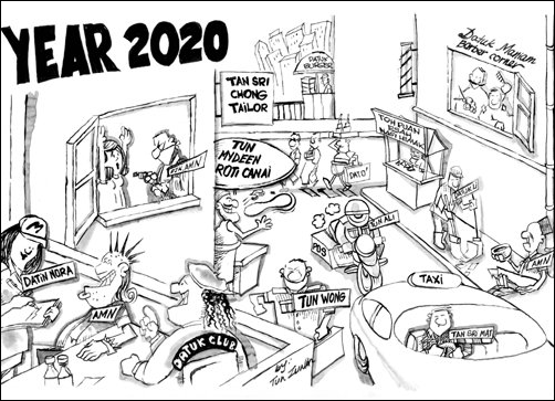 Zunar's cartoon reflect's the glut of titles in society. Image from Aliran Monthly.