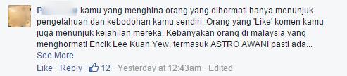 Astro awani's facebook post 1