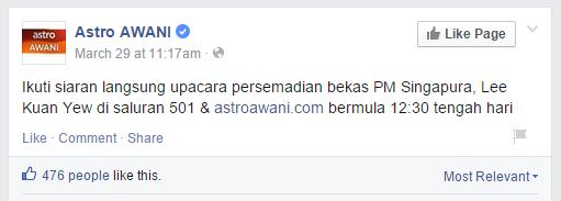 Astro awani's facebook post