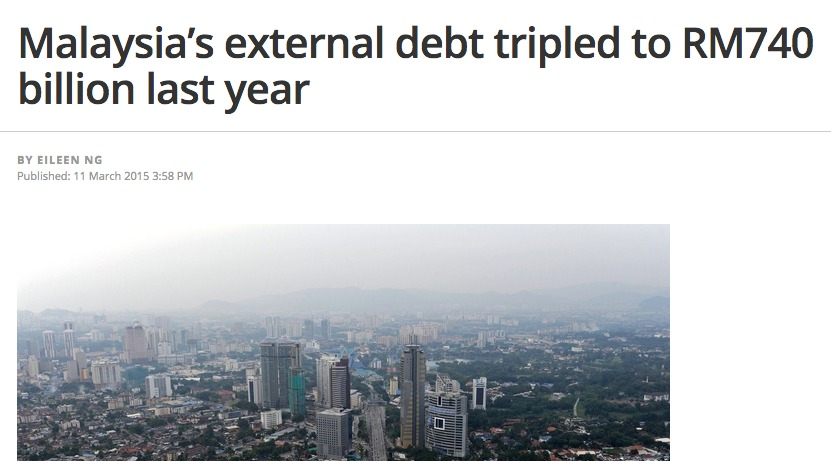 Malaysia's external debt tripled to RM740 billion last year   The Malaysian Insider