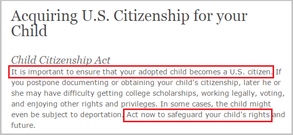 US citizenship for adopted children