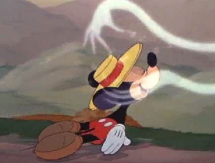 mickey mouse inhaling fumes. Image from Dinner a love story.