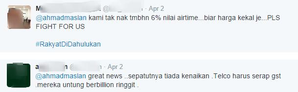 General sentiment Ahmad Maslan twitter people response. Screen shot from Ahmad Maslan's Twitter account.