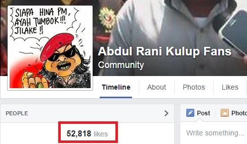 Screenshot from Abdul Rani Kulup fans on Facebook.
