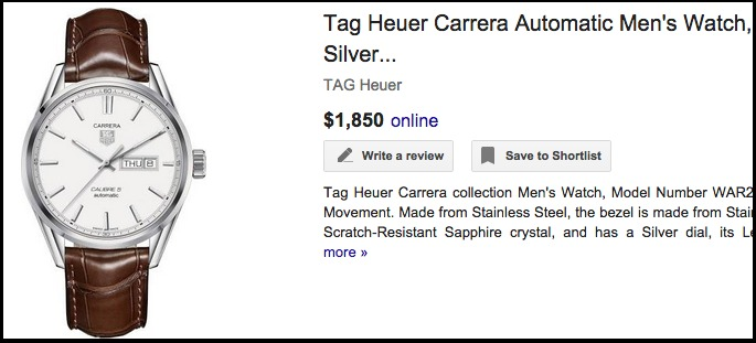 Tag Heuer Carrera Automatic Men s Watch  Stainless Steel  Silver...