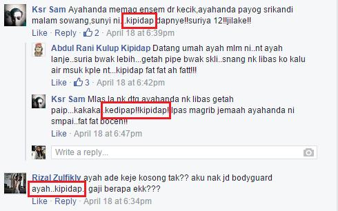 kipidap fans call him kipidap and ayah. Image from Kipidap's Facebook fan page.