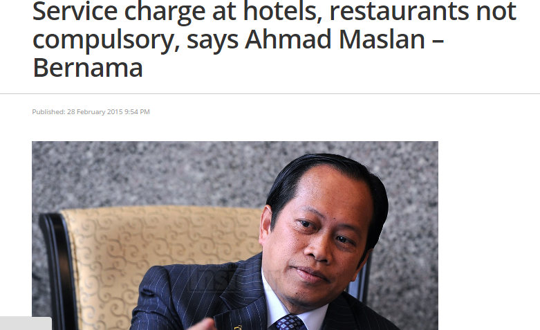 service charge no need pay. Image from The Malaysian Insider.