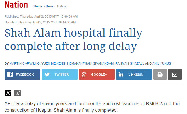 shah alam hospital finished. Screen shot from The Star.