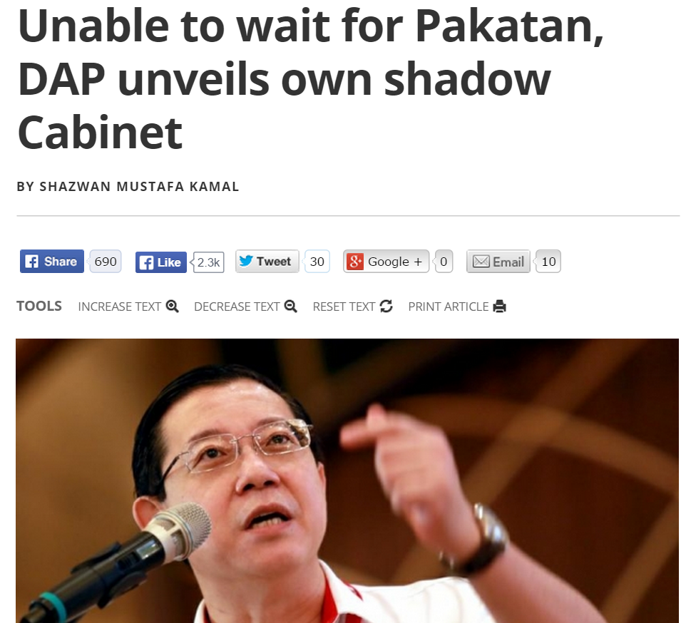 Unable to wait for Pakatan  DAP unveils own shadow Cabinet   Malaysia   Malay Mail Online