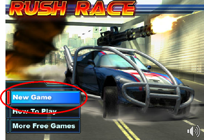 screenshot of a racing game. Screenshot from Rush Race game