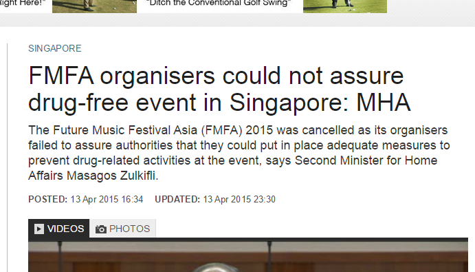 FMFA organisers could not assure drug free event in Singapore  MHA   Channel NewsAsia