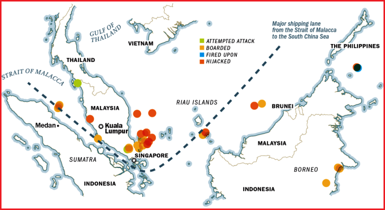 map of pirate attacks straits of malacca singapore. Image from Heather Jones on TIME
