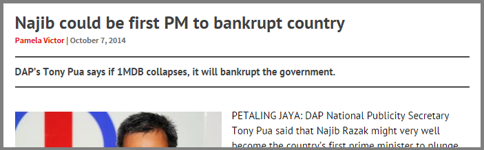 najib could be first pm to bankrupt country Screenshot from FMT