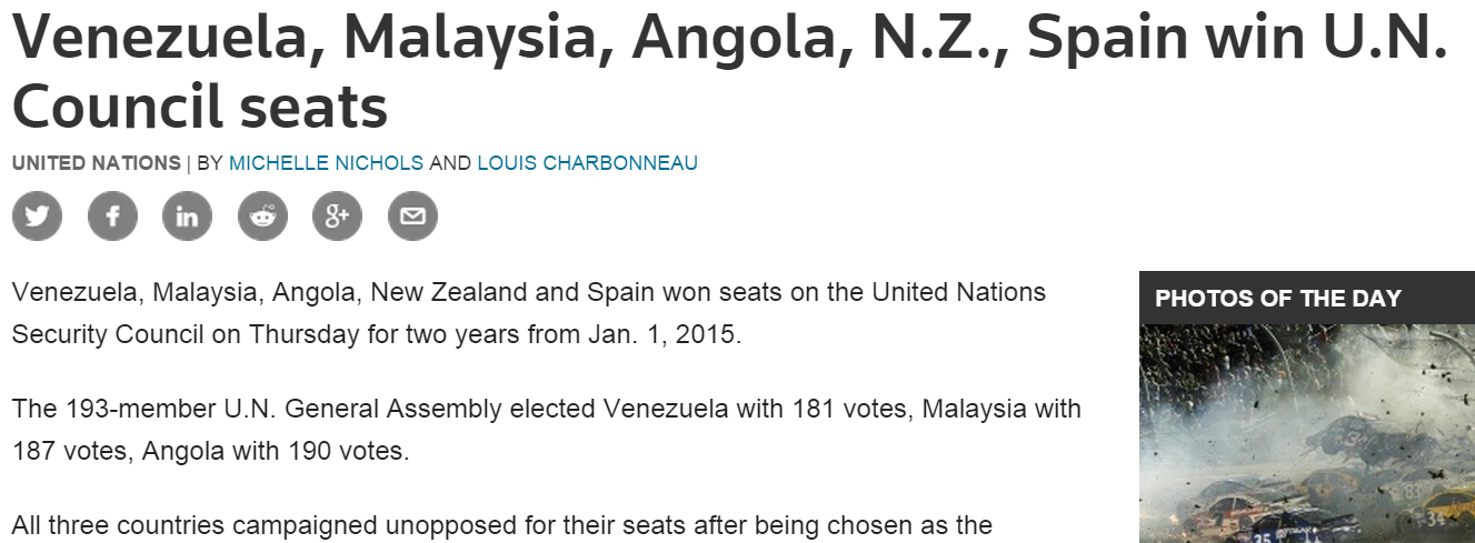 Venezuela  Malaysia  Angola  N.Z.  Spain win U.N. Council seats   Reuters
