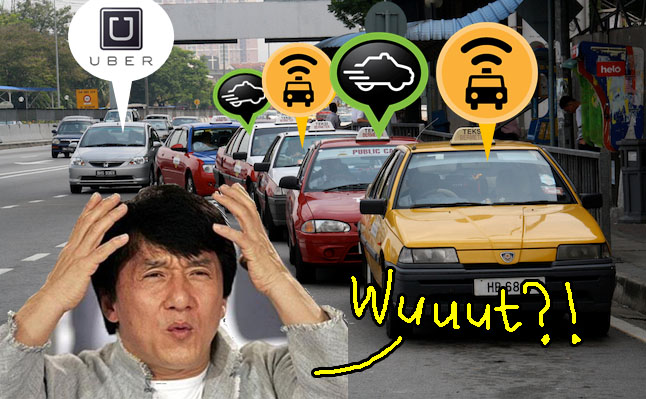 jackie chan frustrated uber myteksi easy taxi apps