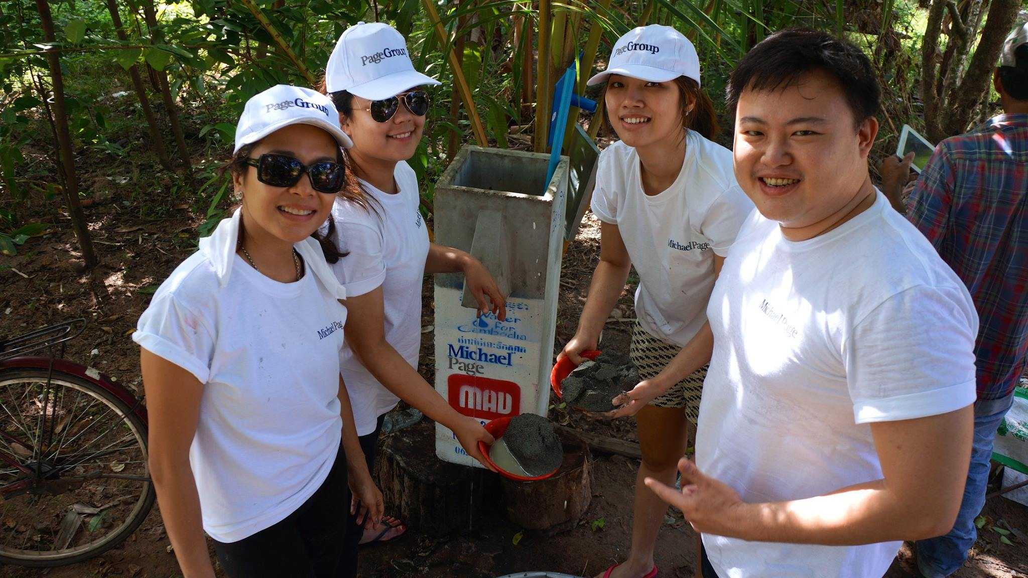 Volunteers from Michael Page that had installed biosand water filters. Picture from MAD's Facebook.