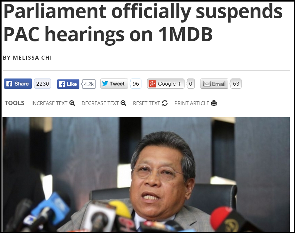 Parliament officially suspends PAC hearings on 1MDB   Malaysia   Malay Mail Online