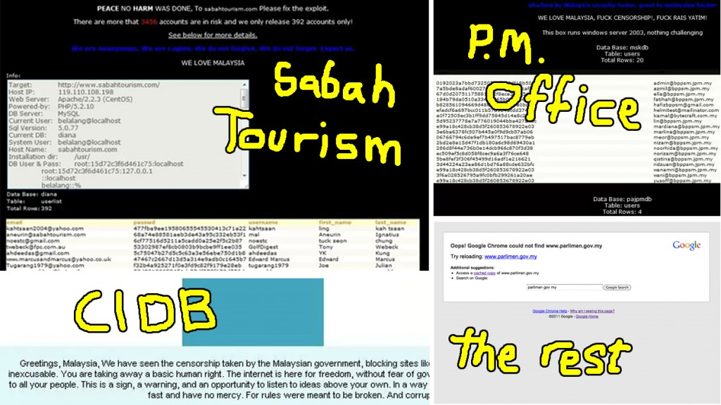 Screencap of some of the hacked websites. Unedited images from joshuaongys.com, financetwitter.com, and nubsht.wordpress.com