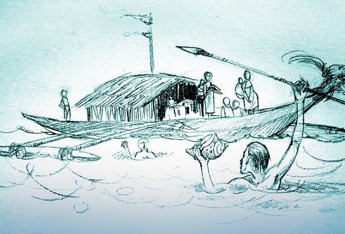 An artist impression of early Seafarers in the Malay Archipelago.