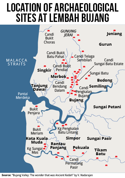 Map of Lembah Bujang. Image from The Malay Mail Online