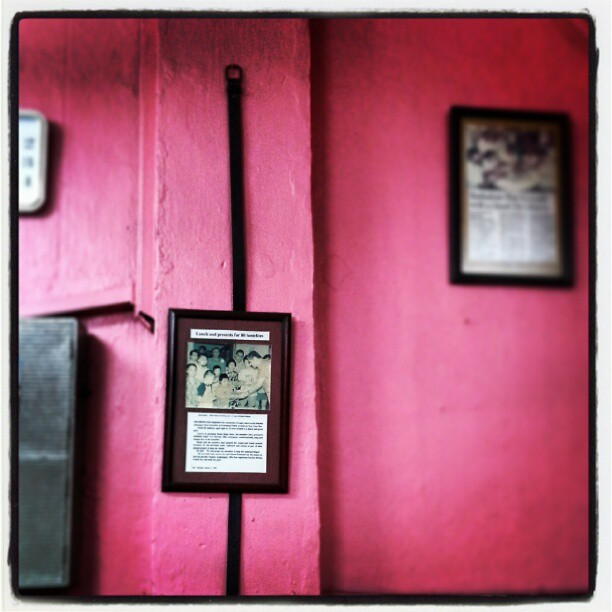 On the wall, hangs a picture on a belt, which locals say was the last wish of one of the bar's regular patrons - to have his belt hung on the wall of the bar he visited for most of his life.