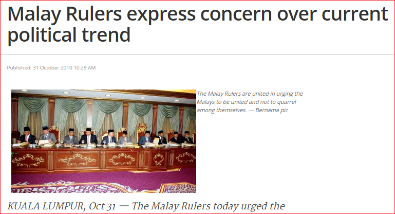 Screenshot from article Malay Ruler statement 2010 social contract
