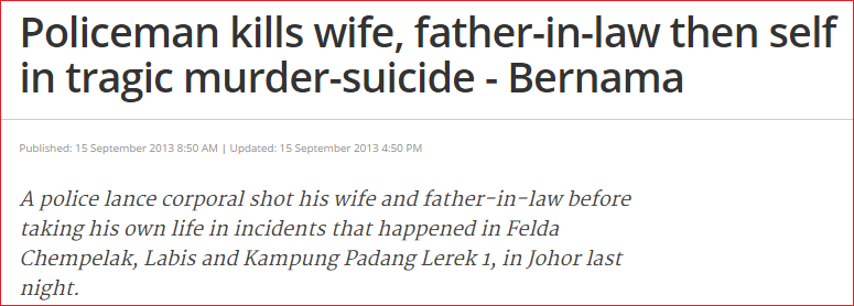 policeman kill wife father suicide. Screenshot from The Malaysian Insider