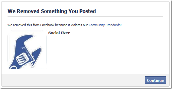 facebook removed something you posted ban censor. Image from social fixer.com.