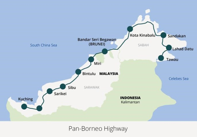 Sepanjang 2083km (bahagian Malaysia sahaja, tidak mengira bahagian yang melalui Indonesia), ia 2x lebih panjang daripada Lebuh Raya Utara-Selatan. Imej dari sarawakenergynewsroom.com.