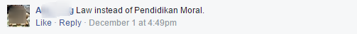 Chak FB comment wish we learned in school 1 law instead of moral