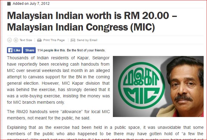MIC indian kapar selangor RM20 cash handout Screengrab from