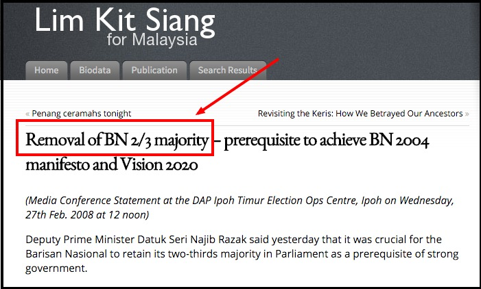 Removal of BN 2 3 majority – prerequisite to achieve BN 2004 manifesto and Vision 2020 « Lim Kit Siang