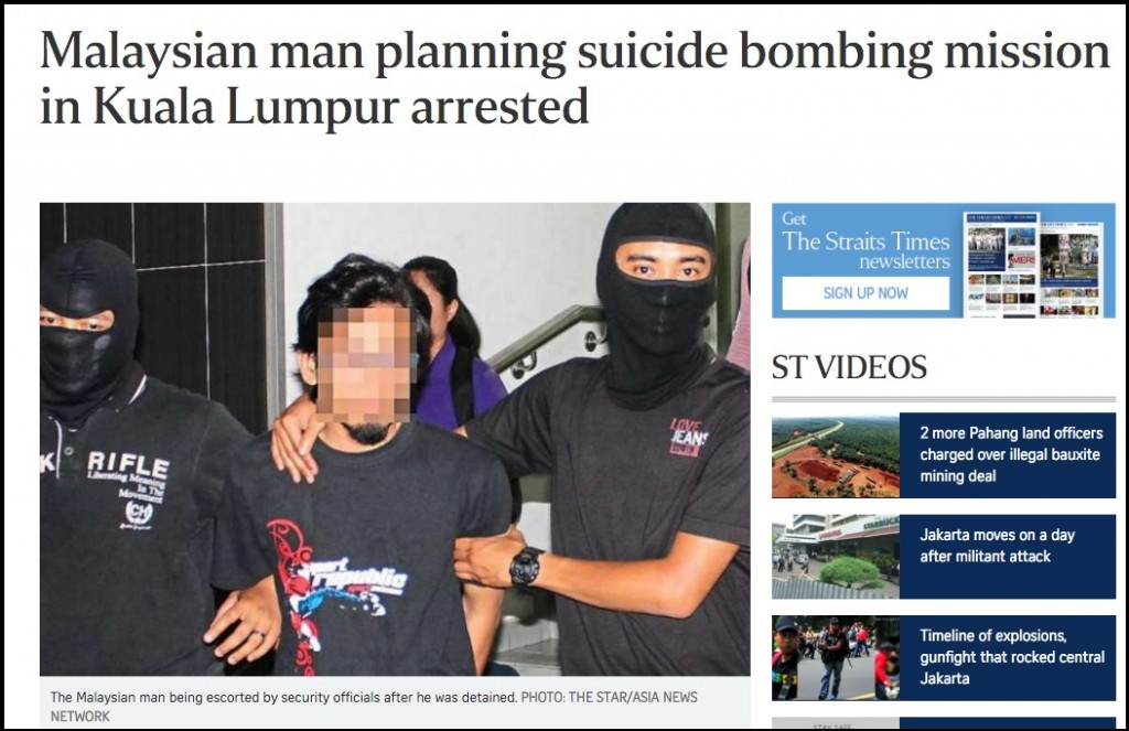 Malaysian man planning suicide bombing mission in Kuala Lumpur arrested SE Asia News Top Stories The Straits Times